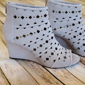 Michael Kors Uma Suede Peep Toe Wedge Sandal